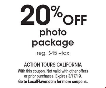 20%OFF photopackage reg. $45 +tax. With this coupon. Not valid with other offers or prior purchases. Expires 3/17/19.Go to LocalFlavor.com for more coupons.