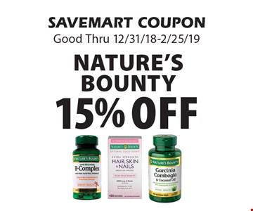 15% off Nature's Bounty. SAVEMART COUPONGood Thru 12/31/18-2/25/19
