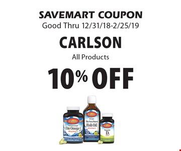 10% off carlsonAll Products. SAVEMART COUPONGood Thru 12/31/18-2/25/19