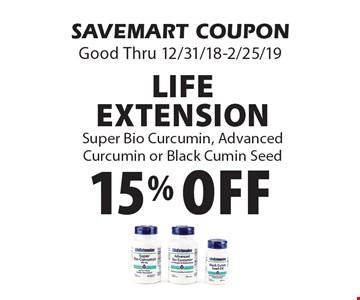 15% off Life ExtensionSuper Bio Curcumin, Advanced Curcumin or Black Cumin Seed. SAVEMART COUPONGood Thru 12/31/18-2/25/19