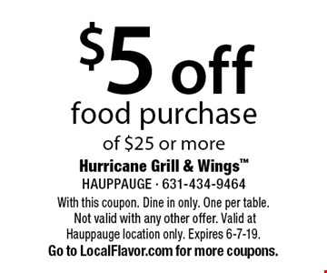 $5 off food purchase of $25 or more. With this coupon. Dine in only. One per table. Not valid with any other offer. Valid at Hauppauge location only. Expires 6-7-19. Go to LocalFlavor.com for more coupons.