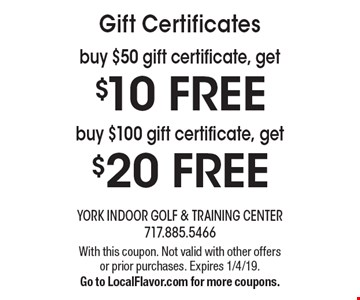 Gift Certificates. Buy $100 gift certificate, get $20 FREE. Buy $50 gift certificate, get $10 FREE. With this coupon. Not valid with other offers or prior purchases. Expires 1/4/19. Go to LocalFlavor.com for more coupons.