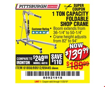 1 TON CAPACITY FORDABLE SHOP CRANE. Boom extends from 36-1/4