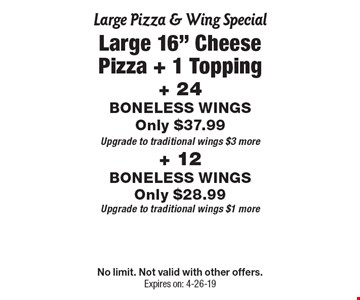 Large Pizza & Wing Special - Large 16