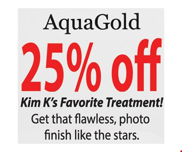 AquaGold 25% Off. Conditions apply. Expires 4/25/19.