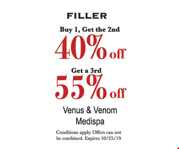 Buy 1, get the 2nd 40% off. Get a 3rd 55%. Conditions apply. Offers can not be combined. Expires 10/25/19.