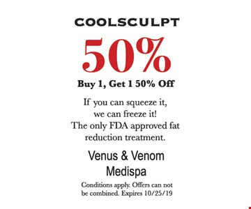 Buy1, get 1 50% off. Conditions apply. Offers can not be combined. Expires 10/25/19.