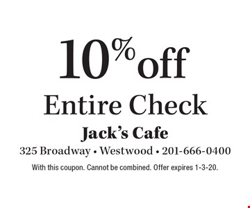 10% off Entire Check. With this coupon. Cannot be combined. Offer expires 1-3-20.