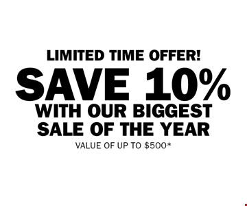 LIMITED TIME OFFER! Save 10% with our biggest sale of the year. Value of up to $500. Offer valid on a Bath Fitter system which must be installed by December 20th.Total savings of up to $500. Not valid on previous purchases and cannot be combined with other offers. Must be presented at time of estimate. At participating locations only, see store for details.