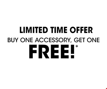 Limited Time Offer Buy one accessory, Get one FREE!* *Offer applies to acrylic accessories, security bars and shower rods with purchase of a complete Bath Fitter system. Free item is of equal or lesser value. Must be used at time of estimate only. May not be combined with other offers or applied to previous purchases. Valid only at select locations. See store for details.