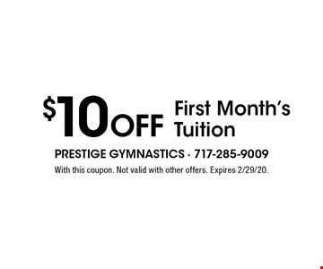 $10 Off First Month's Tuition. With this coupon. Not valid with other offers. Expires 2/29/20.