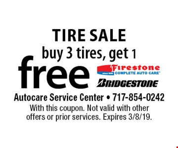 Tire sale! Buy 3 tires, get 1 free. With this coupon. Not valid with other offers or prior services. Expires 3/8/19.