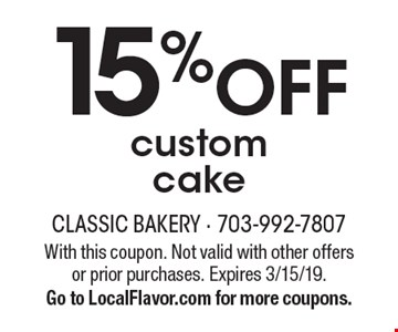 15% off custom cake. With this coupon. Not valid with other offers or prior purchases. Expires 3/15/19. Go to LocalFlavor.com for more coupons.