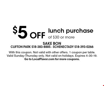 $5 Off lunch purchase of $30 or more. With this coupon. Not valid with other offers. 1 coupon per table. Valid Sunday-Thursday only. Not valid on holidays. Expires 4-30-19. Go to LocalFlavor.com for more coupons.
