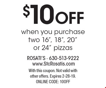 $10 off when you purchase two 16