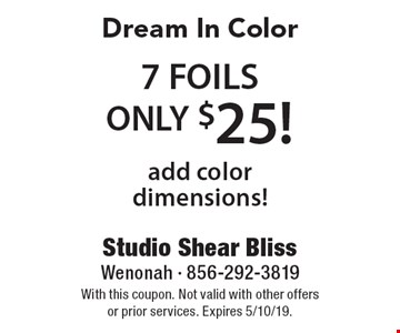 Dream In Color 7 FOILS ONLY $25! add color dimensions!. With this coupon. Not valid with other offers or prior services. Expires 5/10/19.