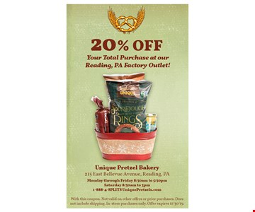 20% off your total purchase at our Reading, Pa Factory Outlet.With this coupon. Not valid on other offers or prior purchases. Does not include shipping. In-store purchases only. Offer expires11/30/19