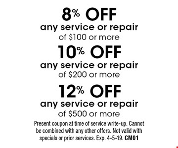 8% OFF any service or repair of $100 or more or 10% OFF any service or repair of $200 or more or 12% OFF any service or repair of $500 or more. Present coupon at time of service write-up. Cannot be combined with any other offers. Not valid with specials or prior services. Exp. 4-5-19. CM01