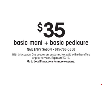 $35 basic mani + basic pedicure. With this coupon. One coupon per customer. Not valid with other offers or prior services. Expires 9/27/19. Go to LocalFlavor.com for more coupons.