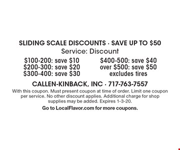 SLIDING SCALE DISCOUNTS - SAVE UP TO $50. $100-200: save $10. $200-300: save $20. $300-400: save $30. $400-500: save $40. Over $500: save $50. Excludes tires. With this coupon. Must present coupon at time of order. Limit one coupon per service. No other discount applies. Additional charge for shop supplies may be added. Expires 1-3-20. Go to LocalFlavor.com for more coupons.