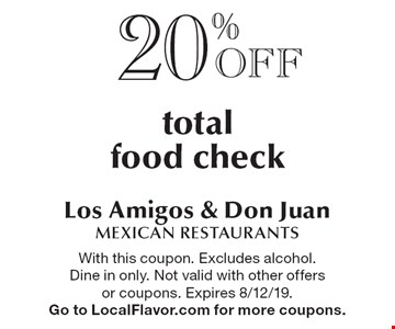 20%Off total food check. With this coupon. Excludes alcohol. Dine in only. Not valid with other offers or coupons. Expires 8/12/19. Go to LocalFlavor.com for more coupons.