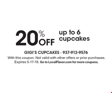 20% Off a dozen minicupcakesup to 6 cupcakes. With this coupon. Not valid with other offers or prior purchases. Expires 5-17-19. Go to LocalFlavor.com for more coupons.