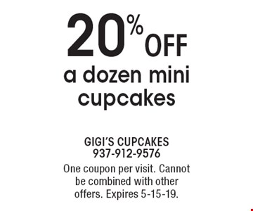 20% off a dozen mini cupcakes. One coupon per visit. Cannot be combined with other offers. Expires 5-15-19.
