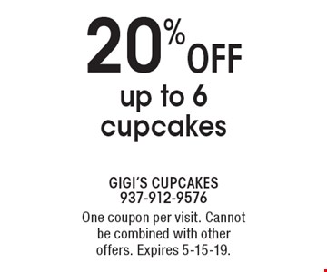 20% off up to 6 cupcakes. One coupon per visit. Cannot be combined with other offers. Expires 5-15-19.