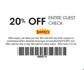 20% Off Entire Guest Check. With coupon, per table, per visit. Not valid with any other coupons or promotional offers. Alcoholic beverages not included. ©2018 DFO, LLC. Offer valid for dine in only. Not valid for online orders. Offer ends 3-31-19.