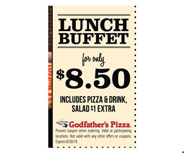 Lunch Buffet for only $8.50 Includes Pizza & Drink, Salad $1 Extra.Present coupon when ordering. Valid at participating locations. Not valid with any other offers or coupons. Expires 9/30/19.
