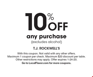 10% off any purchase (excludes alcohol). With this coupon. Not valid with any other offers. Maximum 1 coupon per check. Maximum $20 discount per table. Other restrictions may apply. Offer expires 1-24-20. Go to LocalFlavor.com for more coupons.
