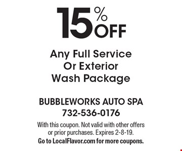 15% Off Any Full Service Or Exterior Wash Package. With this coupon. Not valid with other offers or prior purchases. Expires 2-8-19. Go to LocalFlavor.com for more coupons.