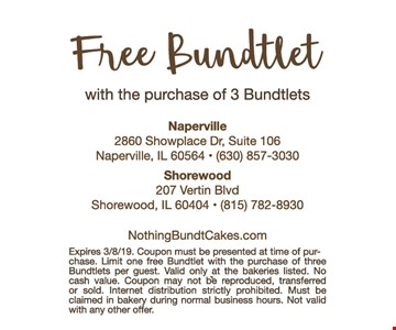 Free Bundlet with the purchase of 3 Bundtlets. Expires 3-8-19. Coupon must be presented at time of purchase. Limit one free Bundtlet with the purchase of three Bundlets per guest. Valid only at the bakeries listed. No cash value. Coupon may not be reproduced, transferred or sold. Internet distribution strictly prohibited. Must be claimed in bakery during norman business hours. Not valid with any other offer.