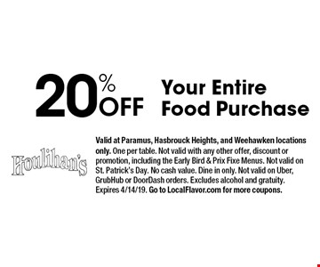 20% Off Your Entire Food Purchase. Valid at Paramus, Hasbrouck Heights, and Weehawken locations only. One per table. Not valid with any other offer, discount or promotion, including the Early Bird & Prix Fixe Menus. Not valid on St. Patrick's Day. No cash value. Dine in only. Not valid on Uber, GrubHub or DoorDash orders. Excludes alcohol and gratuity. Expires 4/14/19. Go to LocalFlavor.com for more coupons.