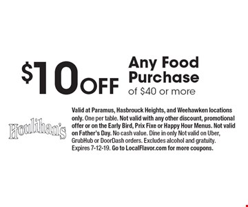 $10 Off Any Food Purchase of $40 or more. Valid at Paramus, Hasbrouck Heights, and Weehawken locations only. One per table. Not valid with any other discount, promotional offer or on the Early Bird, Prix Fixe or Happy Hour Menus. Not valid on Father's Day. No cash value. Dine in only Not valid on Uber, GrubHub or DoorDash orders. Excludes alcohol and gratuity. Expires 7-12-19. Go to LocalFlavor.com for more coupons.