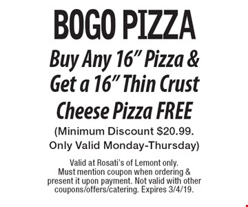 BOGO Pizza Buy Any 16