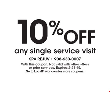 10% Off any single service visit. With this coupon. Not valid with other offers or prior services. Expires 2-28-19. Go to LocalFlavor.com for more coupons.