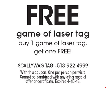 FREE game of laser tag. Buy 1 game of laser tag, get one FREE! With this coupon. One per person per visit. Cannot be combined with any other special offer or certificate. Expires 4-15-19.