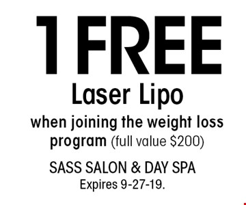 1 FREE Laser Lipo when joining the weight loss program (full value $200). With this coupon. Not valid with other offers or prior services. Go to LocalFlavor.com for more coupons.Expires 9-27-19.