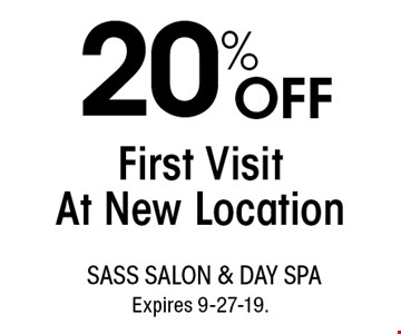 20% OFF First Visit At New Location. With this coupon. Not valid with other offers or prior services. Go to LocalFlavor.com for more coupons. Expires 9-27-19.