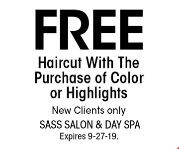 FREE Haircut With The Purchase of Color or Highlights New Clients only. With this coupon. Not valid with other offers or prior services. Go to LocalFlavor.com for more coupons.Expires 9-27-19.