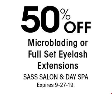 50% OFF Microblading or Full Set Eyelash Extensions. With this coupon. Not valid with other offers or prior services. Go to LocalFlavor.com for more coupons.Expires 9-27-19.