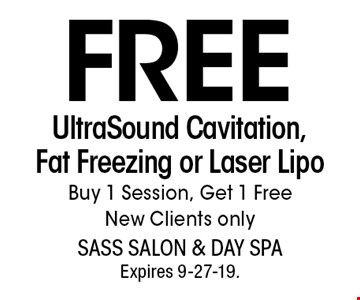FREE UltraSound Cavitation, Fat Freezing or Laser LipoBuy 1 Session, Get 1 Free New Clients only. With this coupon. Not valid with other offers or prior services. Go to LocalFlavor.com for more coupons.Expires 9-27-19.