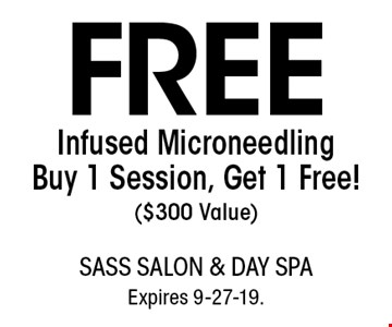 FREE Infused Microneedling Buy 1 Session, Get 1 Free! ($300 Value). With this coupon. Not valid with other offers or prior services. Go to LocalFlavor.com for more coupons.Expires 9-27-19.