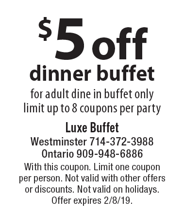 picture about The Luxe Buffet Printable Coupon titled Buffet Criativas: Luxe Buffet Ontario