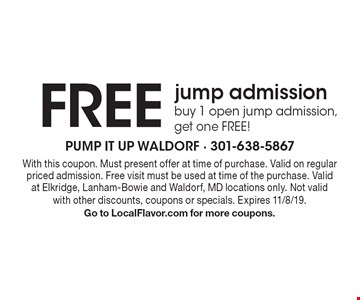 Free jump admission. Buy 1 open jump admission, get one free! With this coupon. Must present offer at time of purchase. Valid on regular priced admission. Free visit must be used at time of the purchase. Valid at Elkridge, Lanham-Bowie and Waldorf, MD locations only. Not valid with other discounts, coupons or specials. Expires 11/8/19. Go to LocalFlavor.com for more coupons.
