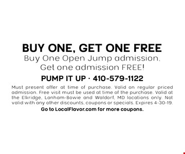 Buy One, Get One FREE Buy One Open Jump admission, Get one admission FREE!. Must present offer at time of purchase. Valid on regular priced admission. Free visit must be used at time of the purchase. Valid at the Elkridge, Lanham-Bowie and Waldorf, MD locations only. Not valid with any other discounts, coupons or specials. Expires 4/19/19. Go to LocalFlavor.com for more coupons.