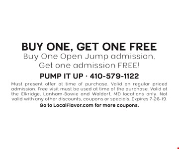 Buy One, Get One FREE Buy One Open Jump admission, Get one admission FREE! Must present offer at time of purchase. Valid on regular priced admission. Free visit must be used at time of the purchase. Valid at the Elkridge, Lanham-Bowie and Waldorf, MD locations only. Not valid with any other discounts, coupons or specials. Expires 7-26-19. Go to LocalFlavor.com for more coupons.