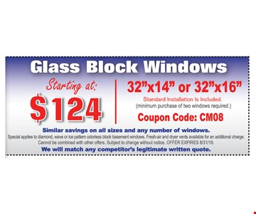 Glass Block Windows Starting at $124 | 32