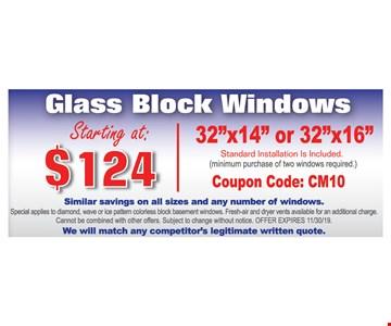 Glass Block Windows Starting at $124 | 32